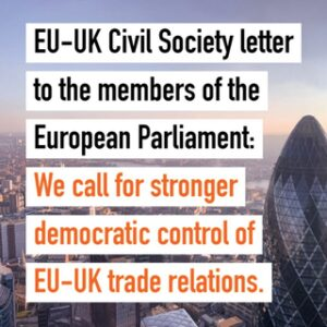 """Ist möglicherweise ein Bild von Text """"EU-UK Civil Society letter to the members of the European Parliament: We call for stronger democratic control of EU-UK trade relations."""""""