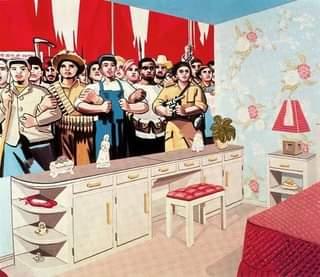 Ist möglicherweise ein Cartoon von 4 Personen, Personen, die stehen und Innenbereich